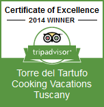 Winner: Certificate of Excellence 2014 | Torre del Tartufo Cooking Vacations Tuscany