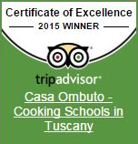 Winner: Certificate of Excellence 2015 | Casa Ombuto - Cooking Vacations Tuscany
