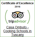 Winner: Certificate of Excellence 2016 | Casa Ombuto - Cooking Vacations Tuscany