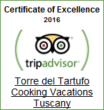 Winner: Certificate of Excellence 2016 | Torre del Tartufo Cooking Vacations Tuscany