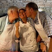 Chef Paola with guests having fun