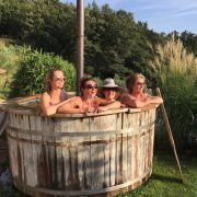 Hot tub and yoga at the Tuscookany cooking classes in Tuscany
