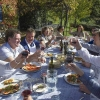 Lunch al fresco at Tuscookany cooking vacations Italy