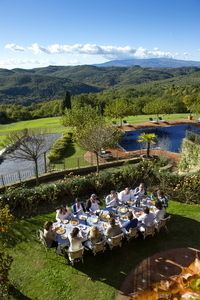Torre del Tartufo lunch al fresco what a view over the Tuscan hills.