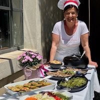 Chef Laura at Bellorcia cooking school in Italy