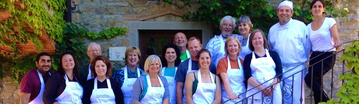 Tuscookany chef Franco with students at Torre del Tartufo