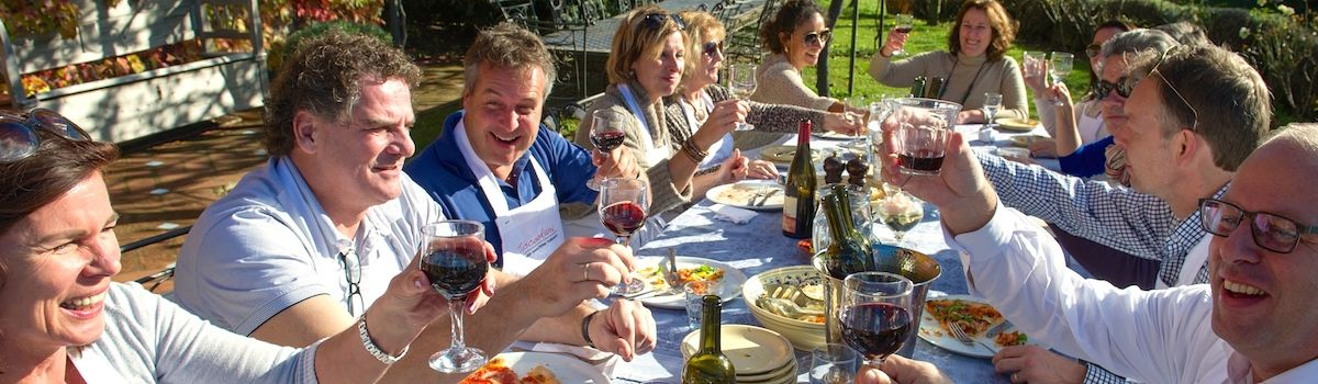 Tuscookany lunch al fresco at the Torre del Tartufo cooking classes