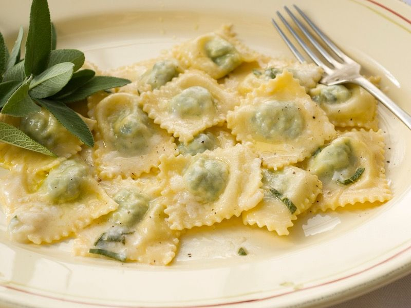 Ravioli with butter and sage sauce;  a marriage made in heaven!