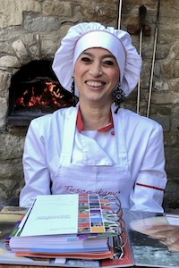 Mediterranean chef Alice at Tuscookany cooking school in Tuscany.